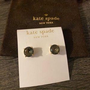 Kate Spade Gold Smoky Brown Stud Earrings